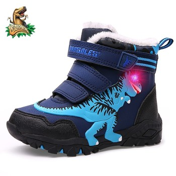 Dinoskulls Kids 2020 Winter Boots Shoes Boys T-rex LED Lighted Fashion New Children Snow Leather Warm Plush Glowing - discount item  50% OFF Children's Shoes