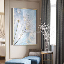 100% Handpainted Oil Painting on Canvas Dandelion oil Painting white blue flower Wall Art picture For Living Room home decor big size canvas art painting handpainted oil painting modern home decoration dropship oil painting wall art picture room decora