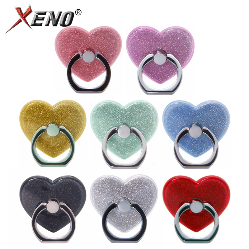 Finger Ring Holder For Phone Tablet Pc Holder Stand Mobile Phone Grip Universal 8Colors Heart-shaped Ring Holder Car Mount Stand
