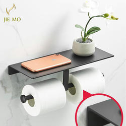 Космический алюминиевый черный крашеный двойной бумажный держатель настенный аксессуары для ванной комнаты держатель для туалетной полки