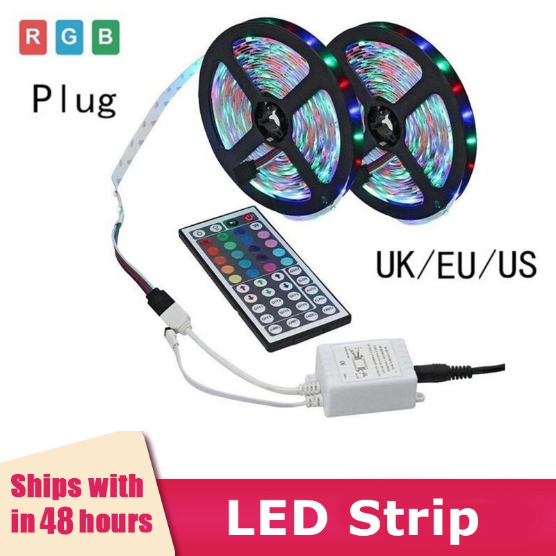 <font><b>5V</b></font> Adpater <font><b>LED</b></font> Strip Lights TV Backlight <font><b>5050</b></font> RGB Colour Remote Control Neon Color Changing Super Bright Waterproof Light Bar image