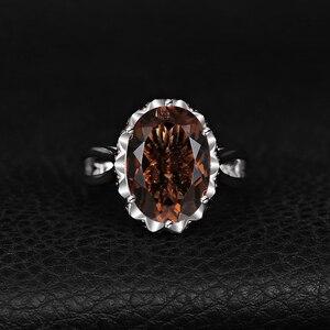 Image 2 - JewelryPalace grande anillo de cuarzo ahumado genuino 925 anillos de plata esterlina para mujeres anillo de compromiso plata 925 joyas de piedras preciosas