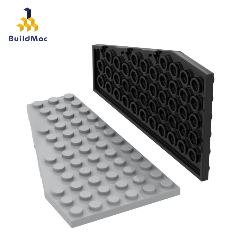 BuildMOC Assembles Particles 30355 6x12 Wedge Plate Left  Building Blocks Parts DIY LOGO Educational Gift Toys
