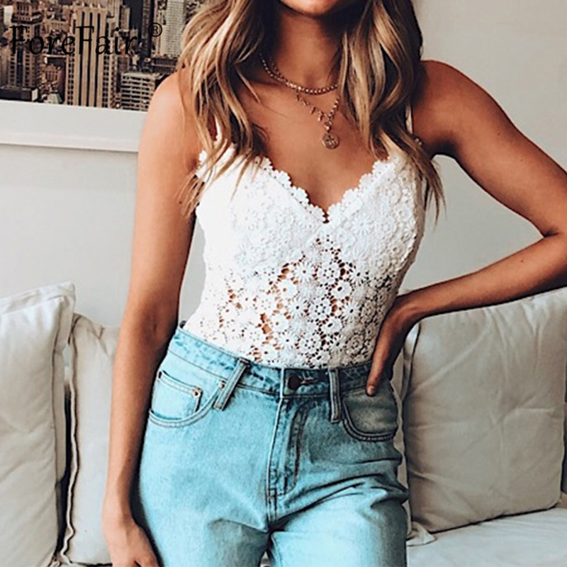 Forefair Women Sexy Bodysuit White Hollow Out See Through Summer Rompers 2019 Elegant Sleeveless Solid Autumn Body
