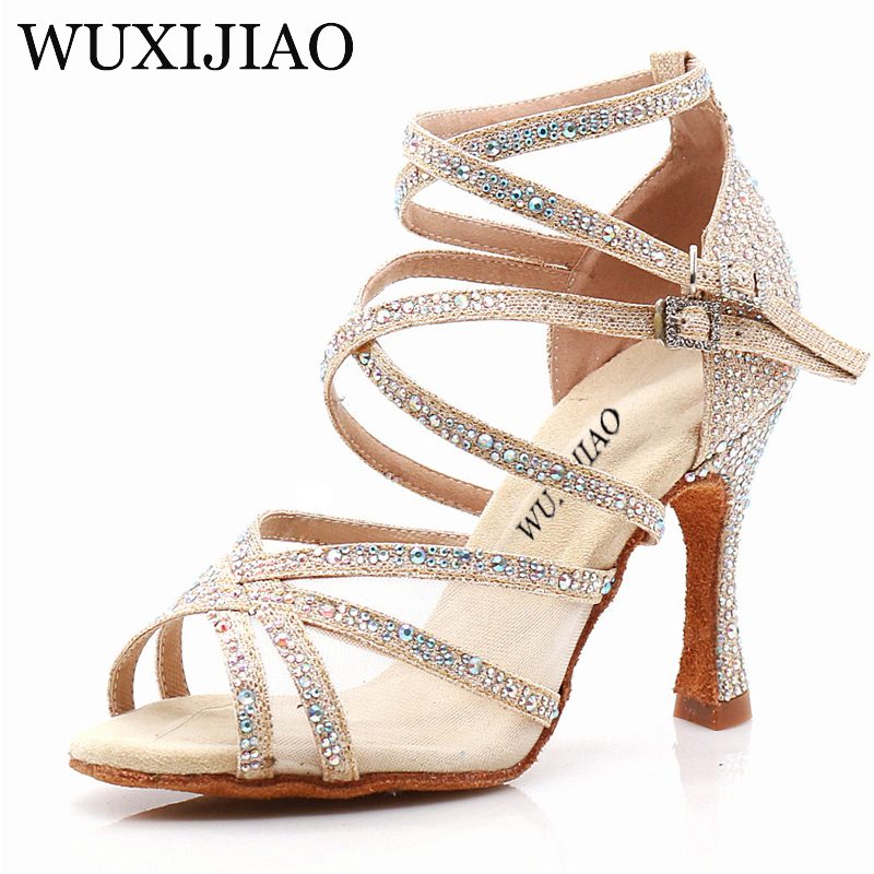 WUXIJIAO Dance Shoes Latin Woman Salsa Silk Satin Dancing Shoes Glitter Rhinestone Professional Dance Shoes Ballroom Soft Bottom