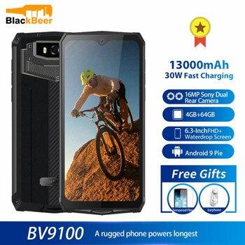 Перейти на Алиэкспресс и купить Смартфон Blackview BV9100, 6,3-дюймовый мобильный телефон, IP68 водонепроницаемый прочный сотовый телефон, 4 Гб 64 ГБ, Восьмиядерный, Android 9,0, 12000 мАч, nfc