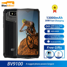 Blackview BV9100 6.3 Inch Mobile Phone IP68 Waterproof Rugged Cellphone 4GB 64GB Octa Core Android 9.0 Smartphone 12000mAH NFC