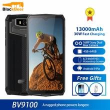 Blackview bv9100 6.3 Polegada telefone móvel ip68 impermeável áspero celular 4gb 64gb octa núcleo android 9.0 smartphone 12000mah nfc