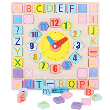 Baby Wooden Montessori Educational Clock Toys Shape Puzzle Wooden Blocks Toys Kids Wooden Learning Matching Clock Toys