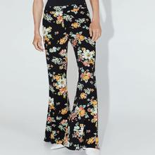 Autumn Chiffon Pants Women Casual Print Floral Loose Classical High-waistBoot Cut Long Pant For Lady
