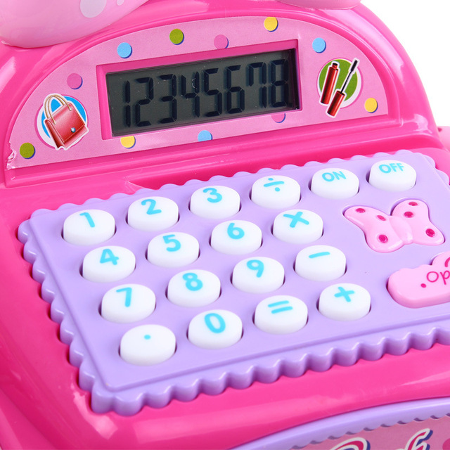Kids Supermarket Cash Register Simulated Role Play Toys For Girls With Multi-Functional Calculator Pretend Play Toy For Children 6