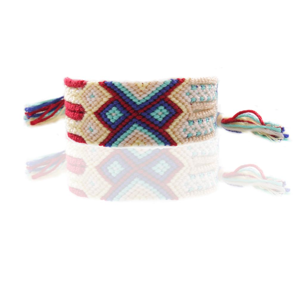 multicolor bohemian braided friendship bracelet beige blue red white multi string macrame lucky surf bracelet gift for him her