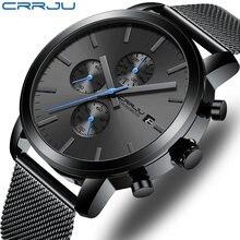 Часы crrju мужские наручные кварцевые роскошные деловые водонепроницаемые