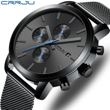Men's Watch CRRJU Luxury Business Men Stainless Steel WristWatch Men's Military waterproof Date Quartz watches relogio masculino