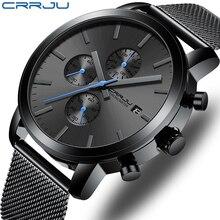 Men's Watch CRRJU Luxury Business Men Stainless Steel WristWatch Men's Military waterproof Date Quartz watches relogio masculino