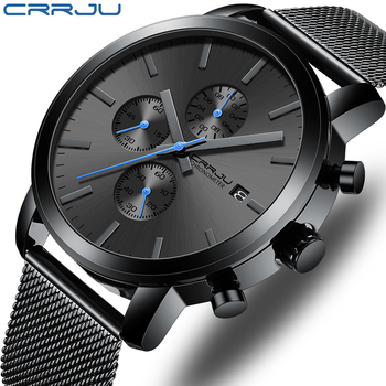 Men's Watch CRRJU Luxury Business Men Stainless Steel WristWatch Military waterproof Date Quartz watches relogio masculino - discount item  90% OFF Men's Watches