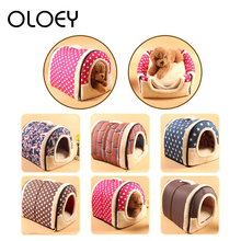 Removable 2 in 1 House and Sofa For Pet Cat Bed Dog Puppy Rabbit Warm Soft Short Plush Kennel Sleeping Bag Cave Supplies