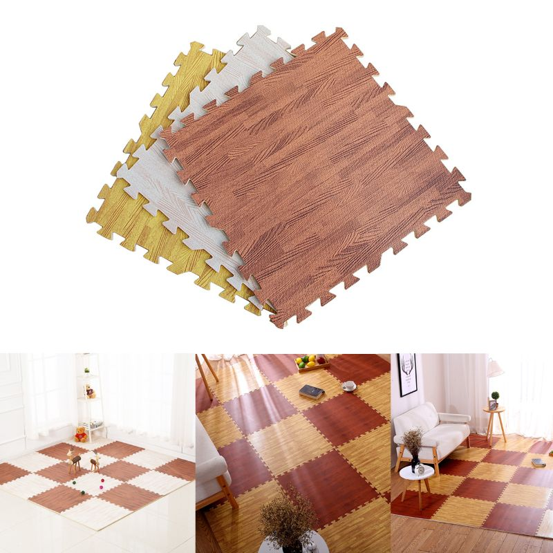 Soft Eva Foam Puzzle Crawling Mat;10pcs Wood Interlock Floor Tiles;Waterproof Ru DXAD