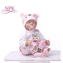 NPK 55 см силиконовая кукла для новорожденного спящего ребенка, детский игровой мате, подарок для девочек, детские живые мягкие игрушки для букетов, кукла для новорожденного, игрушки для новорожденного
