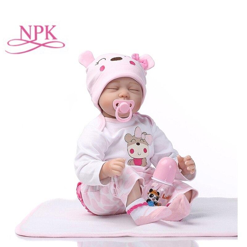 Npk 55cm silicone renascer dormir boneca do bebê crianças playmate presente para meninas bebê vivo brinquedos macios para buquês boneca bebe reborn brinquedos