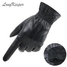 LongKeeper oryginalne skórzane rękawiczki do ekranu dotykowego męskie rękawiczki do jazdy z owczej skóry zimowe ciepłe pełne mitenki Guantes czarne Luvas tanie tanio Long Keeper Dla dorosłych Prawdziwej skóry Sheepskin Kaszmirowy Stałe Nadgarstek Moda D-G579 black elegant fashion gloves