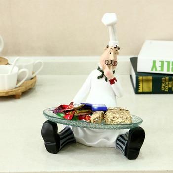 European Sitting Chef Fruit Tray Figurine Model Resin Craft Ornament Fashion Home Restaurant Candy Storage Organizer Figurine