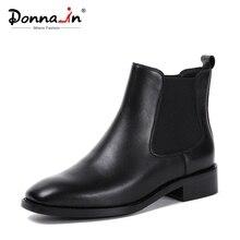 Donna em Mulheres Botas 2020 Genuína Botas De Couro Chelsea Handmade Ankle Boots Marca Do Dedo Do Pé Quadrado Grossas Sapatas Das Senhoras de Pelúcia tamanho