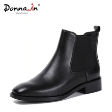 Donna in Women Boots 2020 Genuine Leather Chelsea Boots Handmade Ankle Boots Brand Square Toe Chunky Ladies Shoes Plush Size