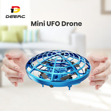 DEERC UFO Mini Drone Hand Flying Anti Collision Quadcopter Verbeterde Vliegende 360 Drone UFO Speelgoed Voor Kinderen Helicopter Infraed 2019