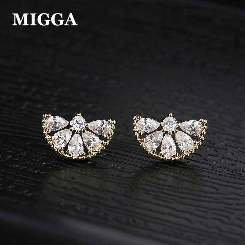 MIGGA Designer Orange Shape CZ Crystal Stud Earrings for Women Girls Gold Color Cubic Zircon Jewelry