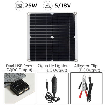 Flexible solar panel high efficiency single crystal 25W solar cell module DC car yacht lamp dual USB 5V/18V outdoor charger high efficiency 18w flexible solar panel solar module used for battery charging