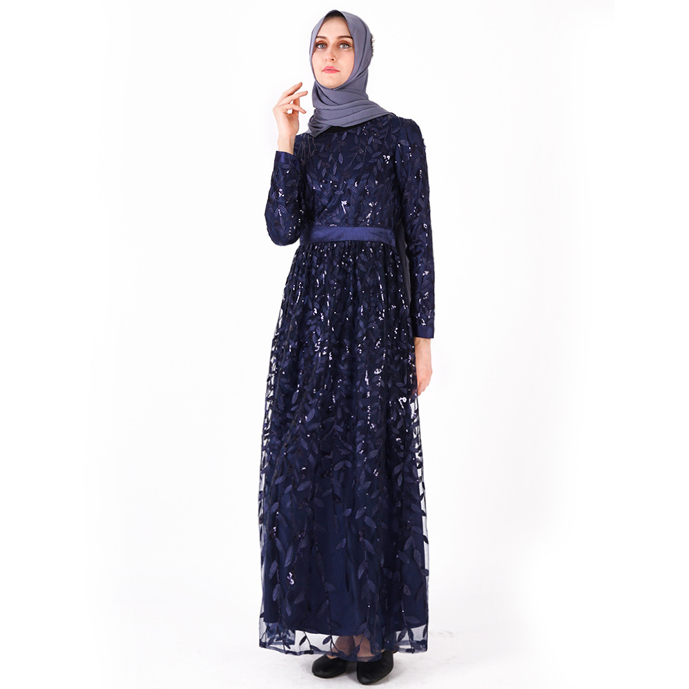 Мусульманское Новое Женское платье с длинными рукавами платье Модный чехол для телефона листья блесток дамы длиной до щиколотки юбки - Цвет: Синий