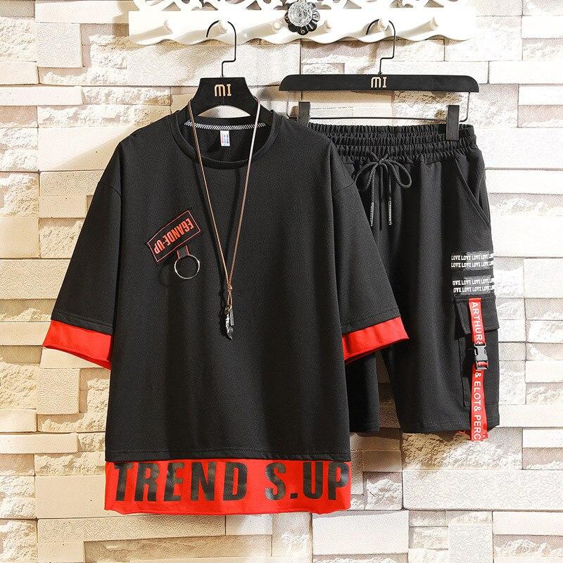 Half Sleeve Men's Summer New Style Trend Teenager Students Half-sleeve Shirt T-shirt INS Hip Hop Sports Suit 1-Piece