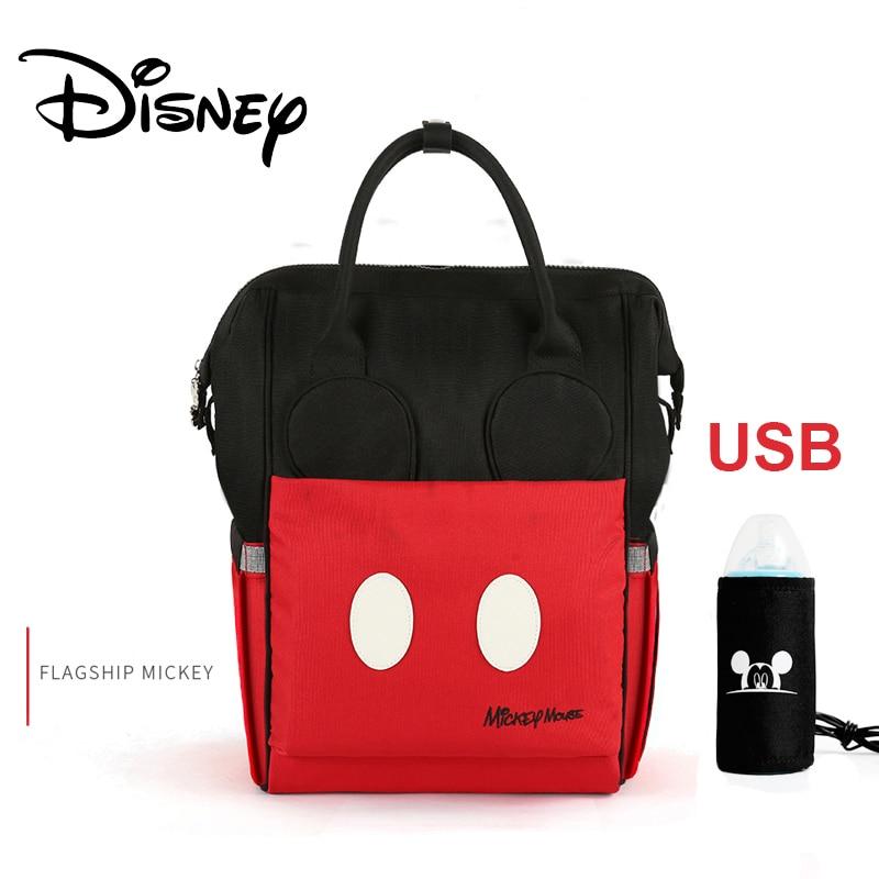 Disney Diaper Bag Backpack Large Capacity Maternity Mummy Bag Travel Backpack Baby Care Baby Nappy Bag USB Bottle Heating 2019
