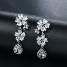 New Brand Luxury Silver Color 3 Colors Long Cz Crystal Drop Earring Fashion Wedding Women Jewelry