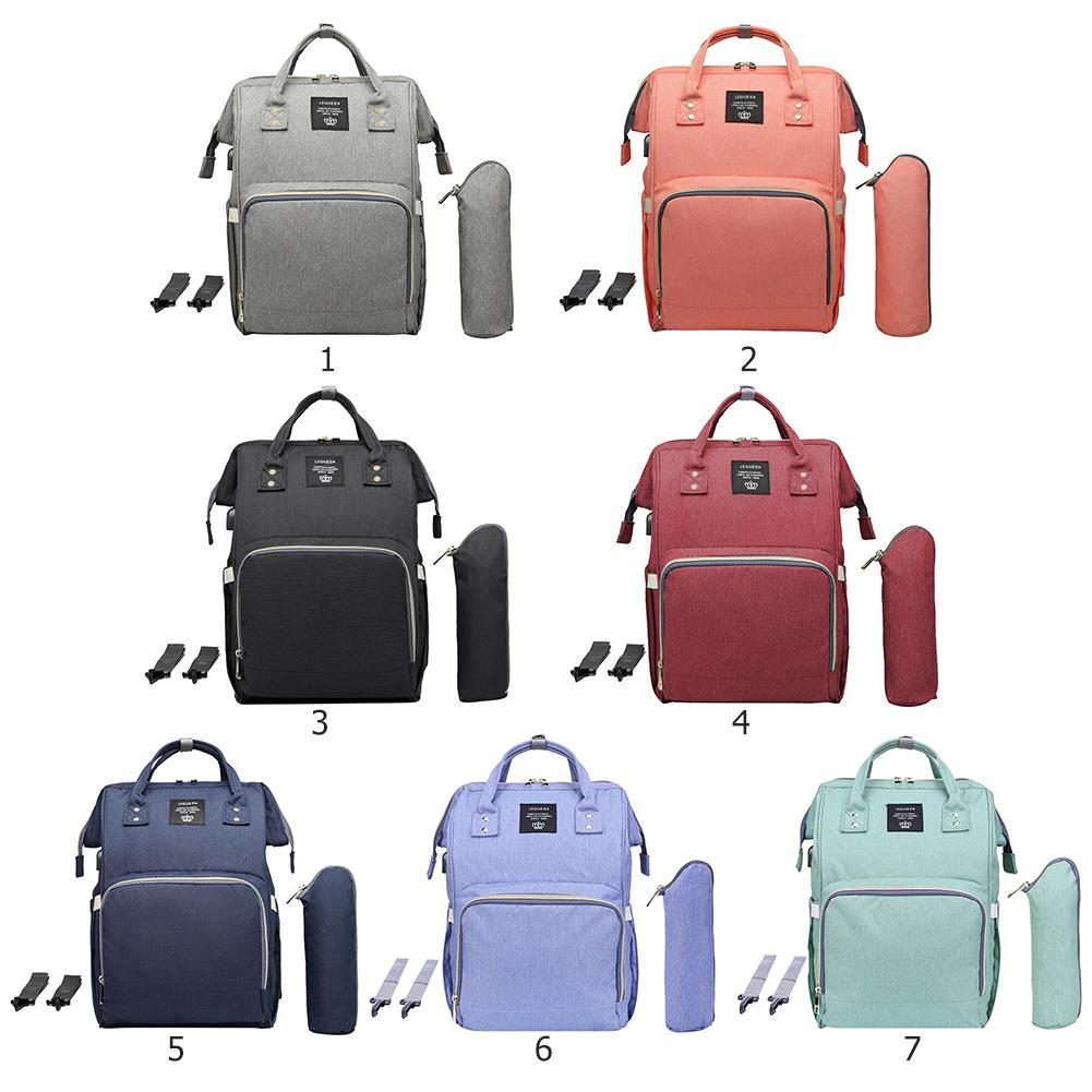 LEQUEEN USB Interface Diaper Bag Large Capacity Waterproof Nappy Bag With Milk Bottle Cover Hook Mummy Maternity Women Backpack