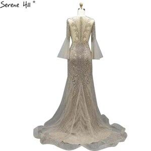 Image 2 - Sereine colline élégant gris sirène de luxe manches longues 2020 perles tenue de fête Fromal robe de soirée robes pour les femmes LA70289