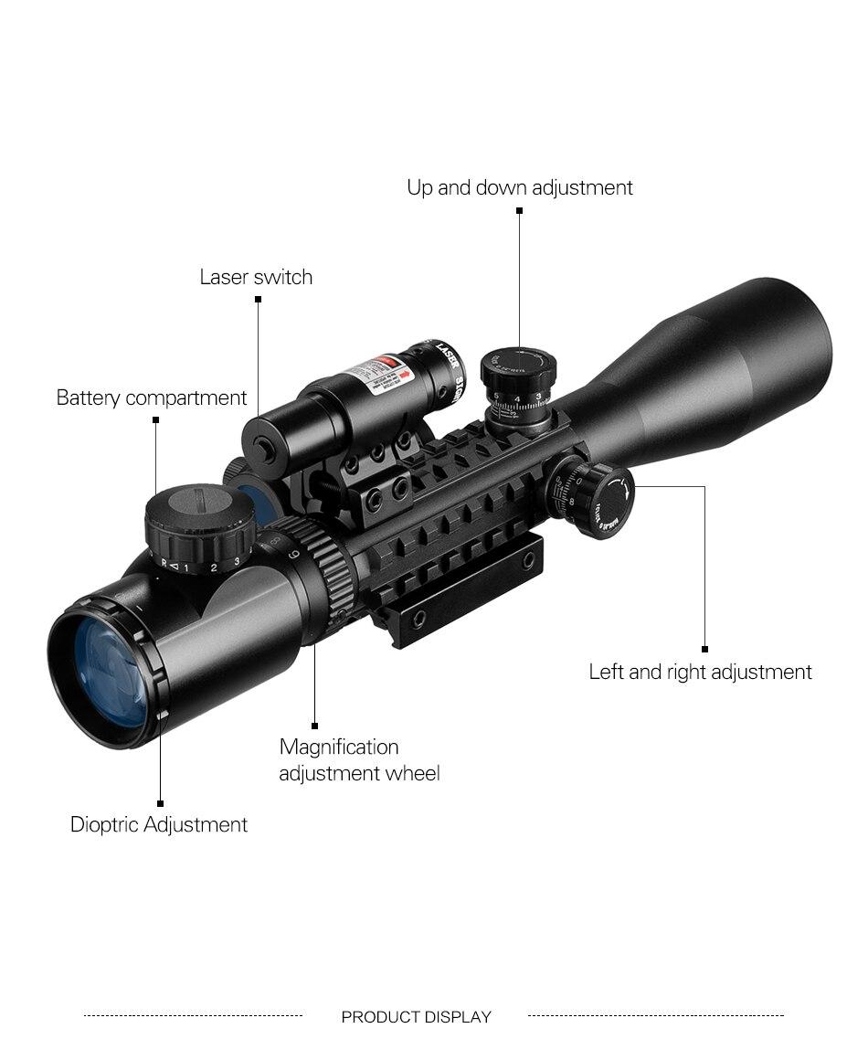 Caça airsoft óptica 3-9x40 iluminado laser vermelho