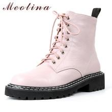 Meotina Short Boots Women Shoes Real Leather Platform Mid Heel Ankle Boots Zip Cross-tied Block Heels Boots Ladies Autumn Winter