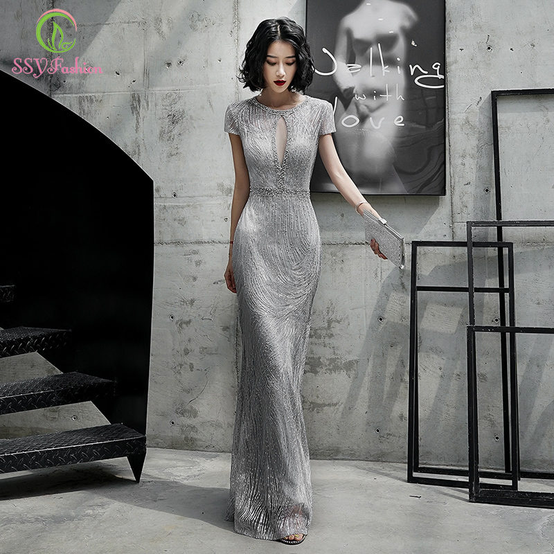 SSYFashion New Mermaid Evening Dress Banquet Elegant Grey Slim Sexy Sequins Beading Long Formal Gown Vestidos De Noche