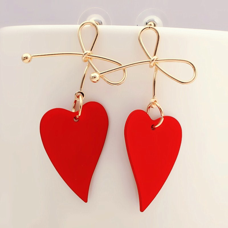Fashion Gold Color Heart Geometric Drop Earring for Women Brincos Vintage Red Green Yellow Earring 2019 Irregular Korean Jewelry-in Drop Earrings from Jewelry & Accessories on AliExpress