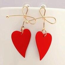 Fashion Gold Color Heart Geometric Drop Earring for Women Brincos Vintage Red Green Yellow Earring 2019 Irregular Korean Jewelry-in Drop Earrings from Jewelry & Accessories on AliExpress