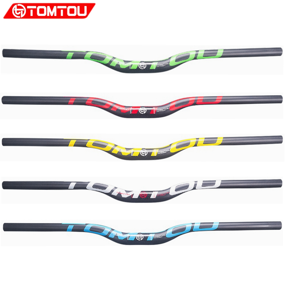 TOMTOU Carbon Fiber <font><b>Handlebar</b></font> Bicycle Mountain Bike MTB Rise <font><b>Handlebar</b></font> Width 600mm - <font><b>760mm</b></font> Diameter 31.8 image