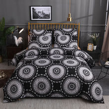 Black Circle Bedding Sets Blue White Pink Endless Round Circle Duvet Cover Queen King Comforter Cover Bohemian Bed Linen(China)