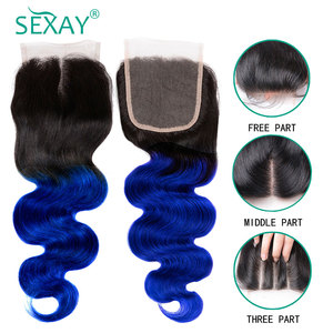 Image 5 - Sexay Brazilian Body Wave 3 Bundles With Lace Closure Two Tone Blue Bundles With Closure Ombre Human Hair Bundles With Closure
