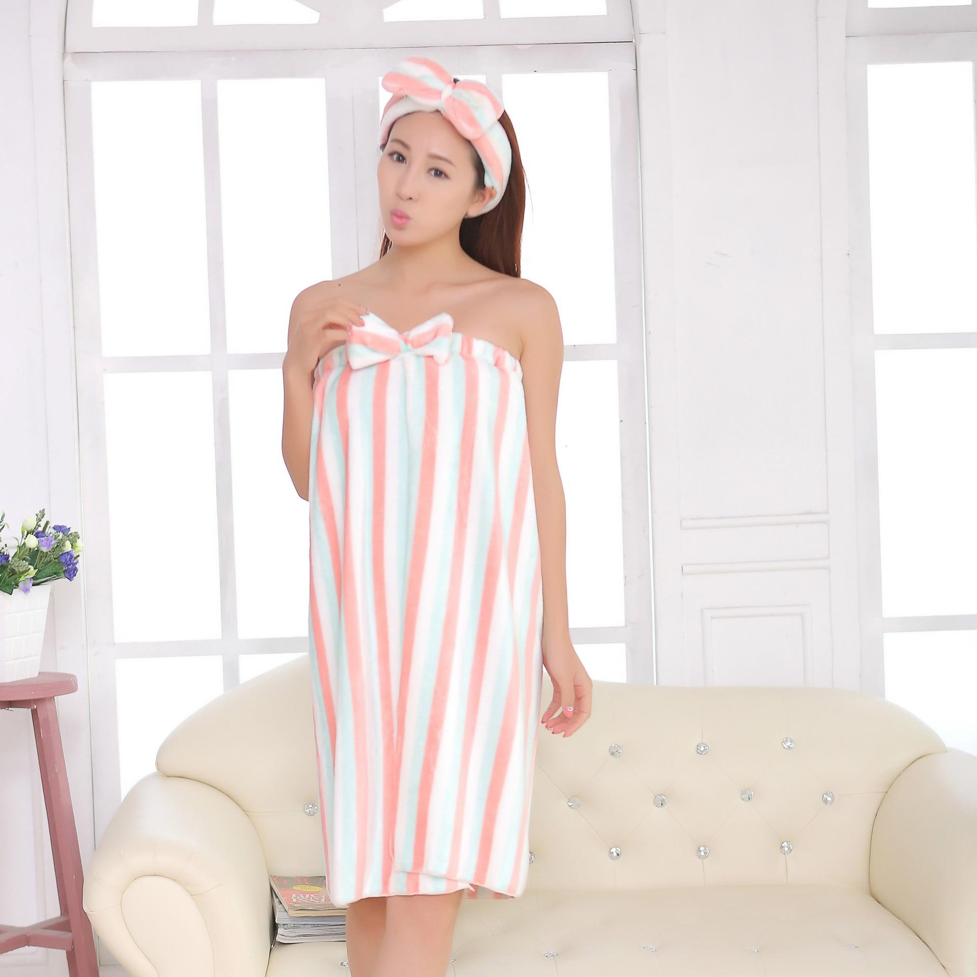 120*75cm Women Sexy Wearable Absorbent Bath Towel+Hair Cap Bathroom Towel Set Bow-knot Body Wrap Bathrobe Spa Skirt for Adults