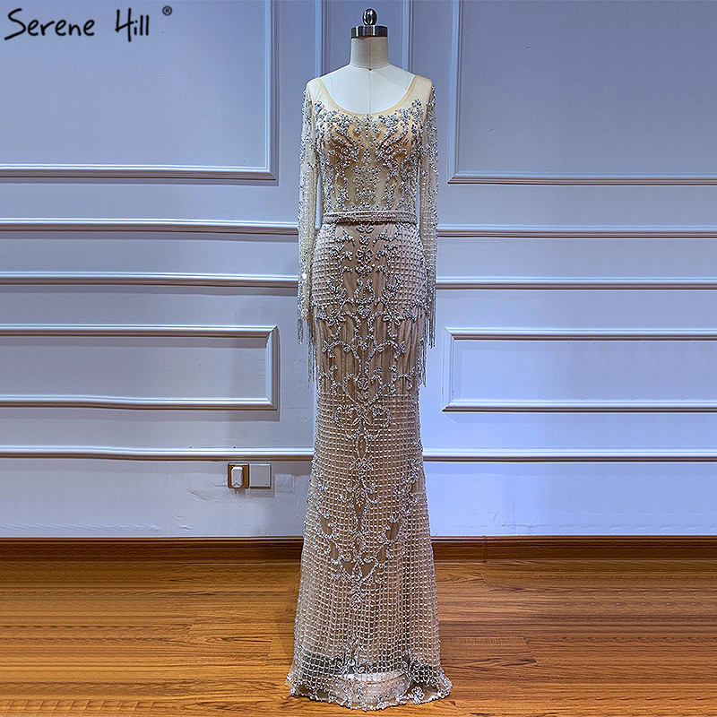 Image 5 - Dubai Luxury Long Sleeve Sparkle Tassels Evening Dresses 2020 Sequined Beading Sexy Robe De Soiree Plus Size BLA60707Evening Dresses   -