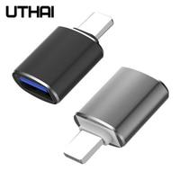 UTHAI-adaptador C56 Lightning a Usb 3,0, lector de tarjetas Usb, conectar unidad Flash, ratón, teclado, cámara para iPhone 7, 8, 11, X, IOS 13