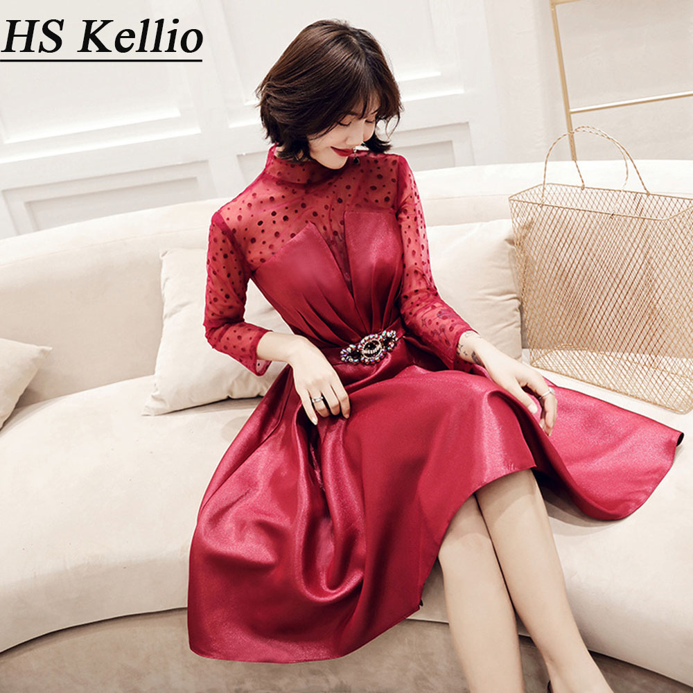 HS Kellio Cocktail Dress Short With Belt Long Sleeve Homecoming Dresses Burgundy Aline