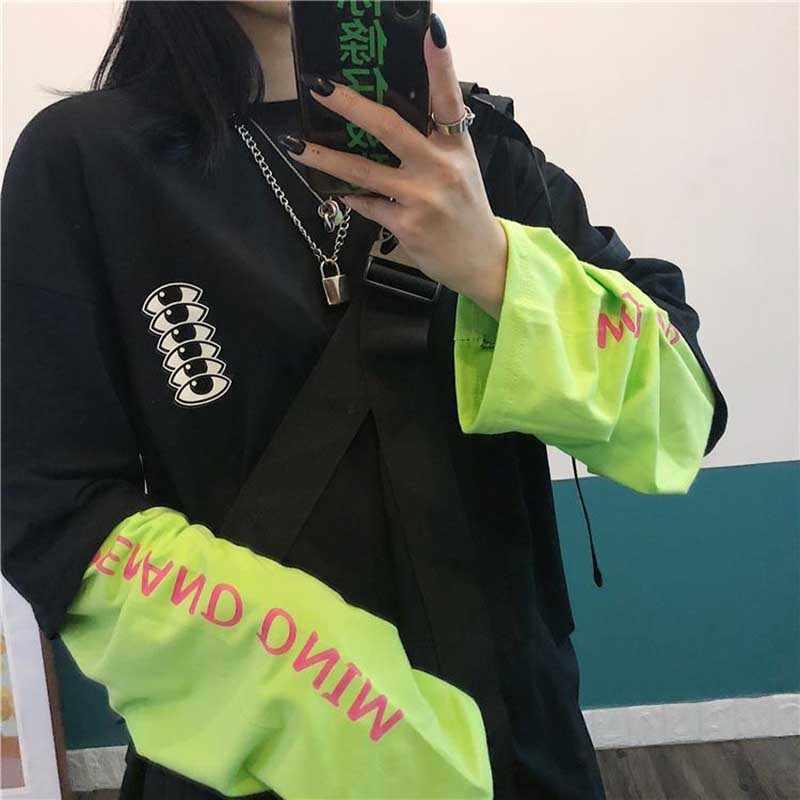 Nicemix Harajuku T-shirt Nep Twee Stukken Shirt Wome Stiksels Lange Mouw Tops Esthetische Grunge High Street Grafische T Shirts str